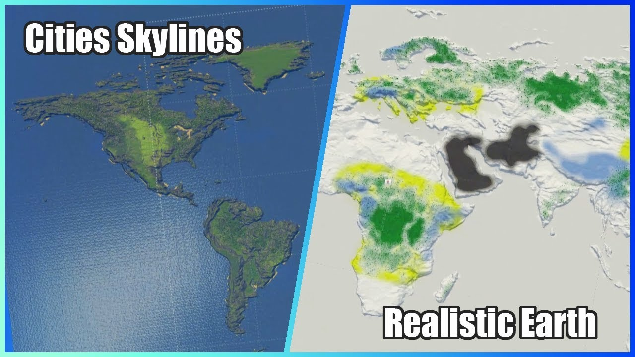 Map Of World With Cities.Cities Skylines Realistic Earth Map Vanilla Compatible Youtube