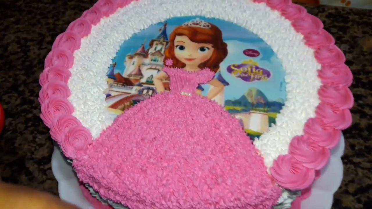 Bolo redondo decorado com tema da princesa sofia youtube - Foto princesa sofia ...