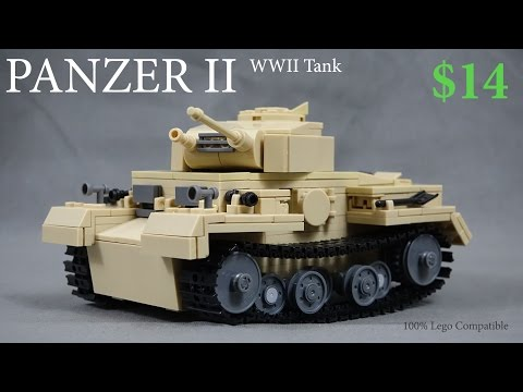 Lego WW2 Tank Panzer II Army Toy - German Army Africa Corps Set Stop Motion - Review KAZI Bootleg