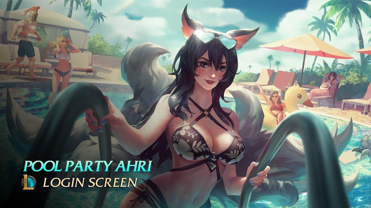 Ahri R34 pool party ahri - login screen [1440p] 60fps