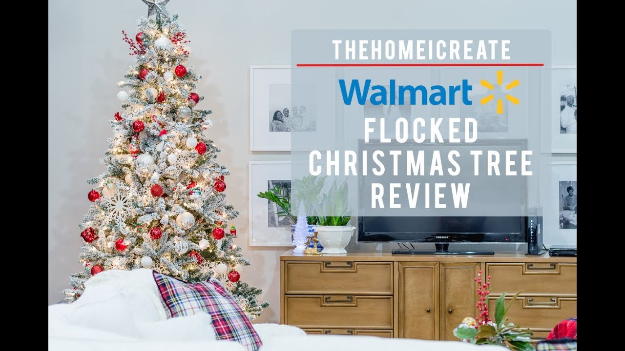 walmart flocked christmas tree review youtube - Walmart White Christmas Tree