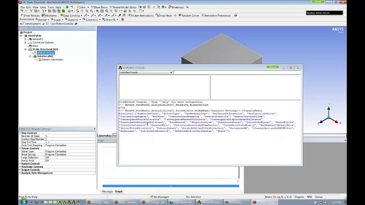 ANSYS Customization Lesson-- Using IronPython Console