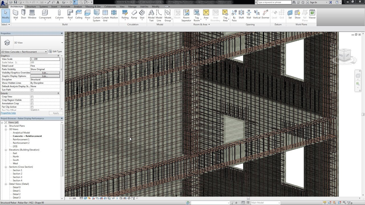 Revit 2016 Improved Rebar Display Performance And