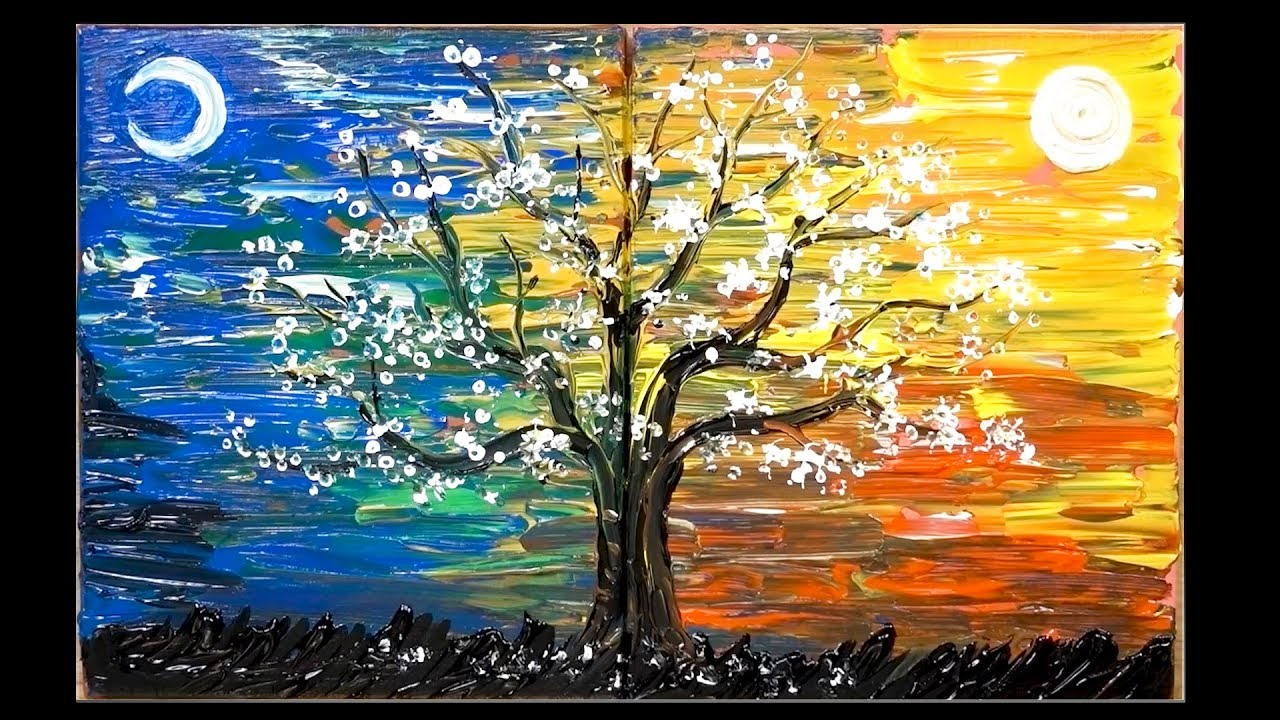 Day And Night Tree Painting Techniques Jaylee