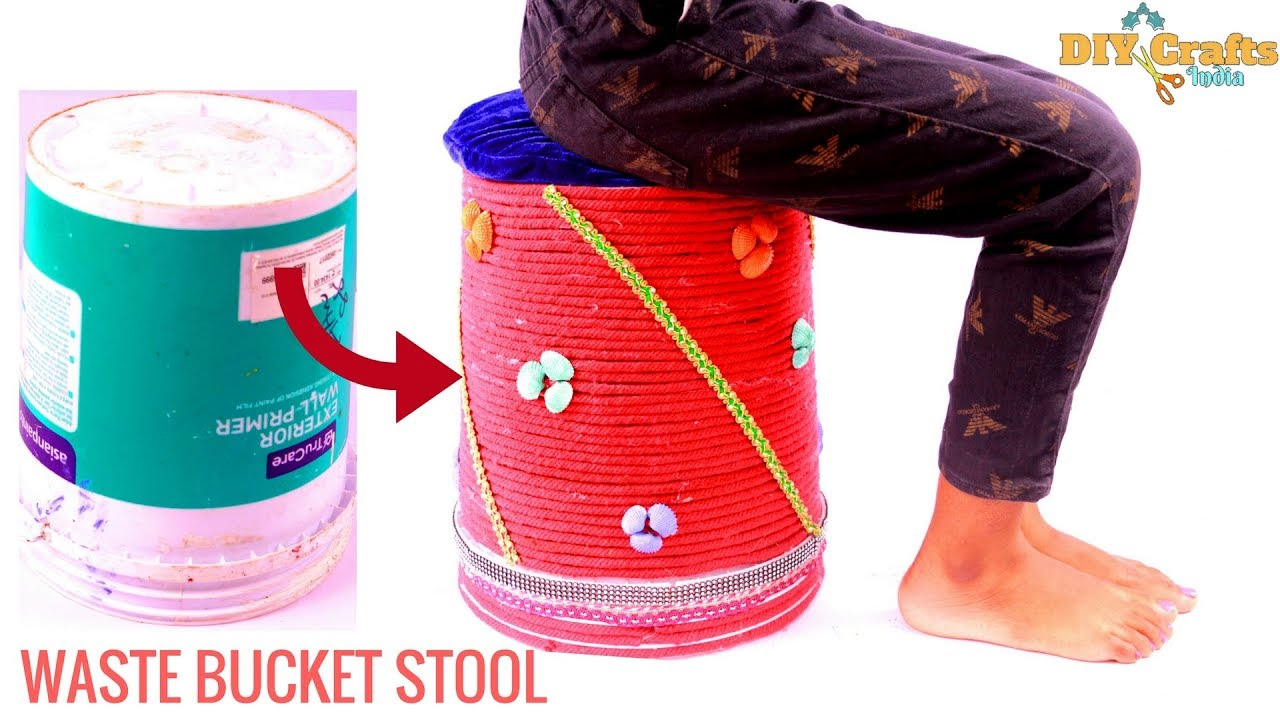 diy old bucket sitting stool waste craft home decoration
