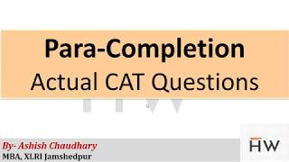 Tricks to solve Para Completion for CAT    Halfwit School
