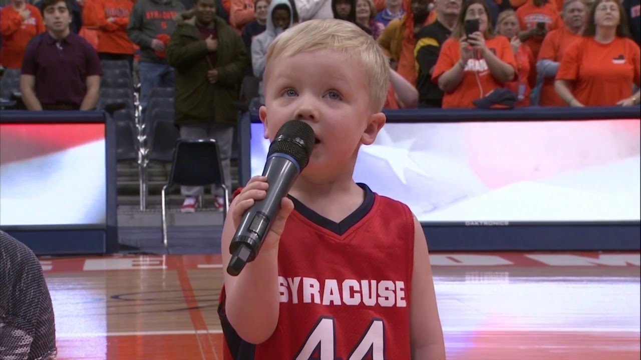 99ae9b74 Watch: 3-year-old sings national anthem at Syracuse game - UPI.com
