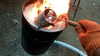 Печка для плавки металлов сделай сам ( тигель ,  плавка алюминия ) 2 часть