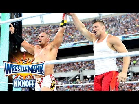 Rob Gronkowski helps Mojo Rawley win the Andre Battle Royal: WrestleMania 33 Kickoff, April 2, 2017
