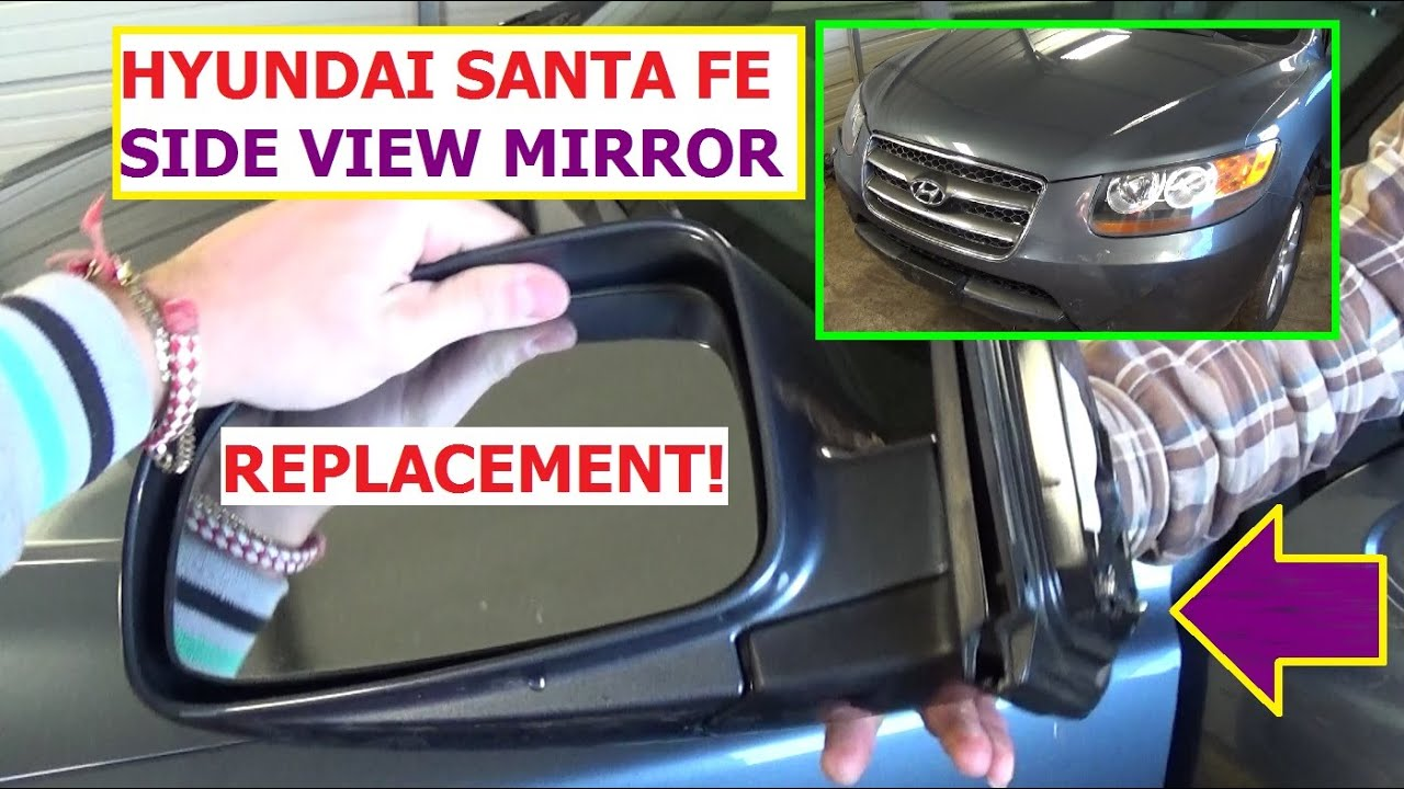 hight resolution of how to remove and replace side rear view mirror hyundai santa fe in 1 minute
