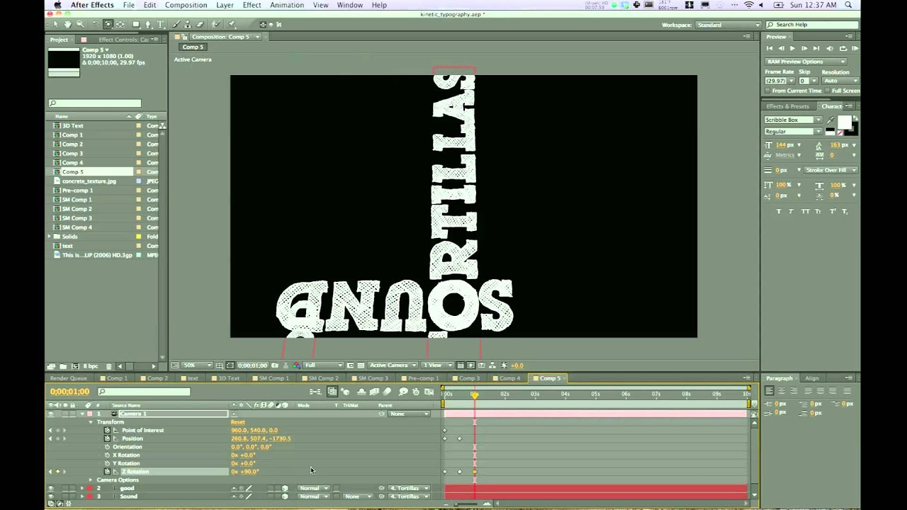 animating 3d text with camera kinetic typography part 2 after