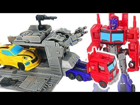 Transformers Cyberverse Warrior Class Optimus Prime with Battle Base Trailer, Bumblebee! #DuDuPopTOY