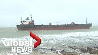 Russian cargo ship runs aground off southwest England, rescue underway