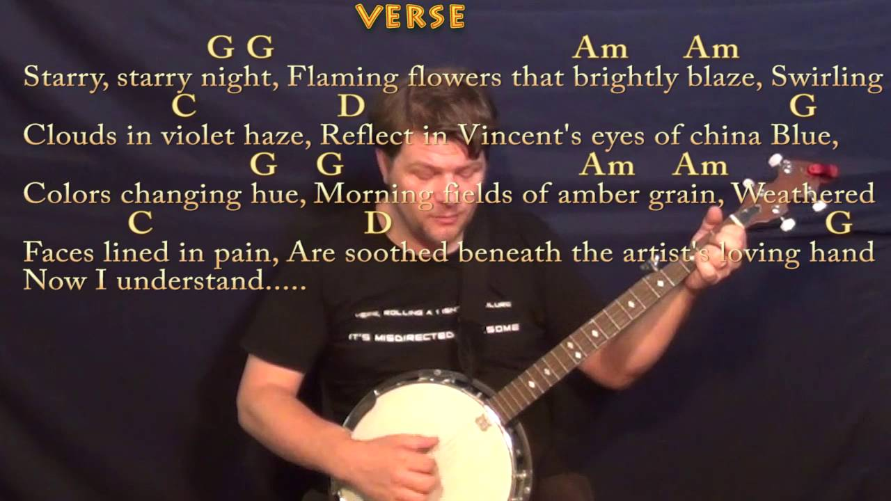 Vincent Starry Starry Night Don Mclean Banjo Cover Lesson With