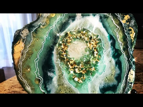 RESIN GEODE ART - GREEN & GOLD AGATE SLICE - BY KAREN GOVERNALE