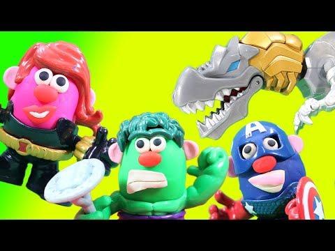 Marvel Super Hero Potato Heads Battle Mashable Transformer Grimlock With Play Doh Magic!
