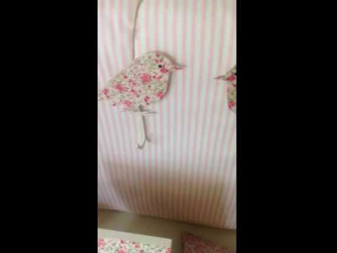 Pat re oiseaux liberty rose pateres decoration chambre for Patere chambre bebe