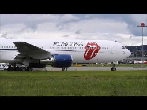 The Rolling Stones' plane filmed in Zürich