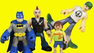 Imaginext Skateboard & Mohawk Dude With Transforming Batcave Jimmy Superboy & Batman