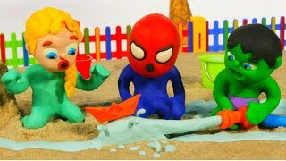 SUPERHERO BABIES PLAY WITH WATER ❤ Spiderman, Hulk & Frozen Elsa PlayDoh Cartoons For Kids