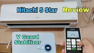 Hitachi 1.5 ton 5star DC Inverter Split AC| Vguard Stabiliser|Price| Hindi Urdu Review| Features