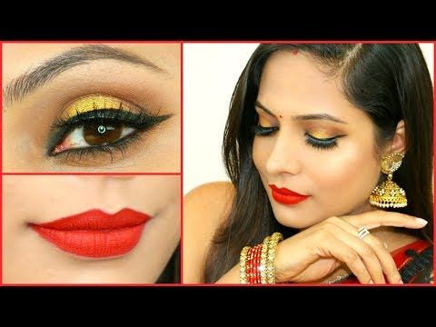 Gold Smokey Eyes for Beginners – Step By Step Indian Makeup Tutorial