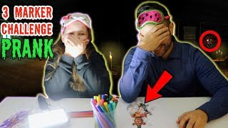 3 MARKER CHALLENGE IN THE DARK with DAD!! (PRANK)