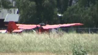 Honda motorcycle engine on CGS Hawk Ultralight leaves the runway