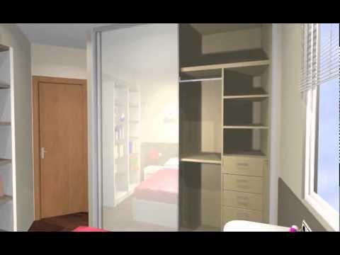 2 dormitorios juveniles unidos por un armario central for Dormitorios juveniles con armario esquinero