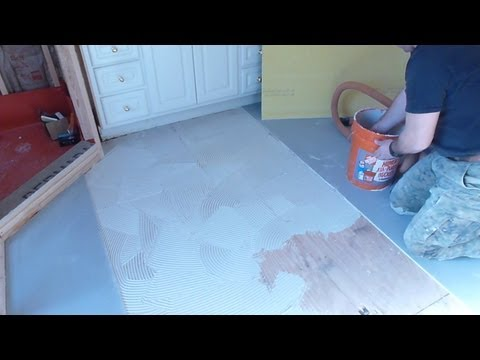 "Part ""1"" How to install Tile Backer Board on wooden subfloor - plywood - floor installation"