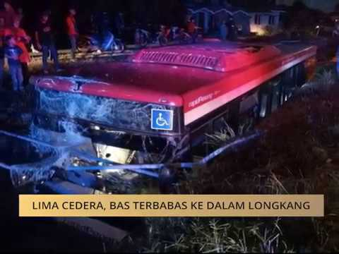 Lima cedera, bas terbabas ke dalam longkang