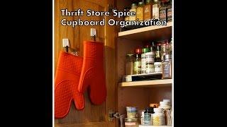 Thrift Store Spice Cabinet Organization