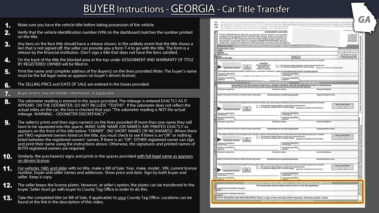 Georgia Title Transfer Buyer Instructions Youtube
