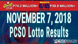 PCSO Lotto Results Today November 7, 2018 (6/55, 6/45, 4D, Swertres, STL & EZ2)