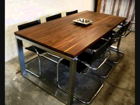 rvs tafel op maat van eiken en noten hout uniek en modern, Meubels Ideeën