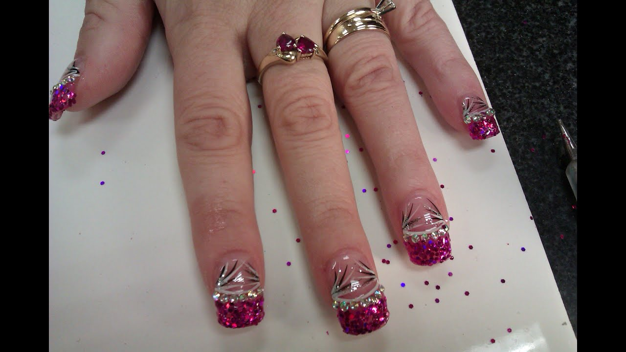 Acrylic Nails: 3D Glitter Purple Tips with Diamonds - YouTube