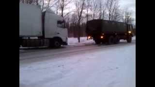 МАЗ-6317 тянет Volvo FH (40 тонн) (Заслоново)