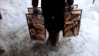 видео Приспособление для переноски дров: переноска для дров своими руками