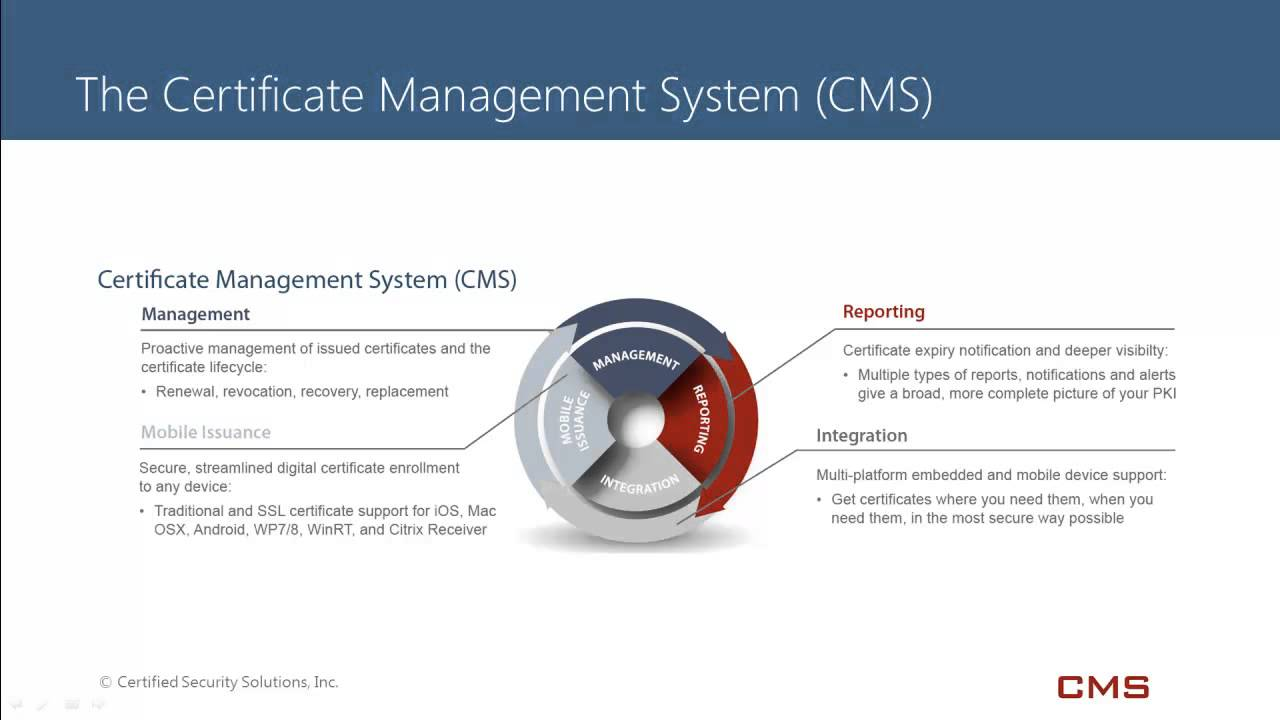 Certificate management system cms overview youtube certificate management system cms overview xflitez Gallery