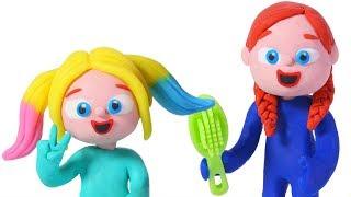 BABY ELSA & ANNA NEW HAIR STYLE ❤ SUPERHERO PLAY DOH CARTOONS FOR KIDS