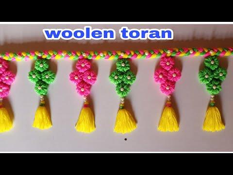 DIY woolen toran!!New design woolen door hanging!!Onn ki jhalar!! Wool craft!! Home decor!!
