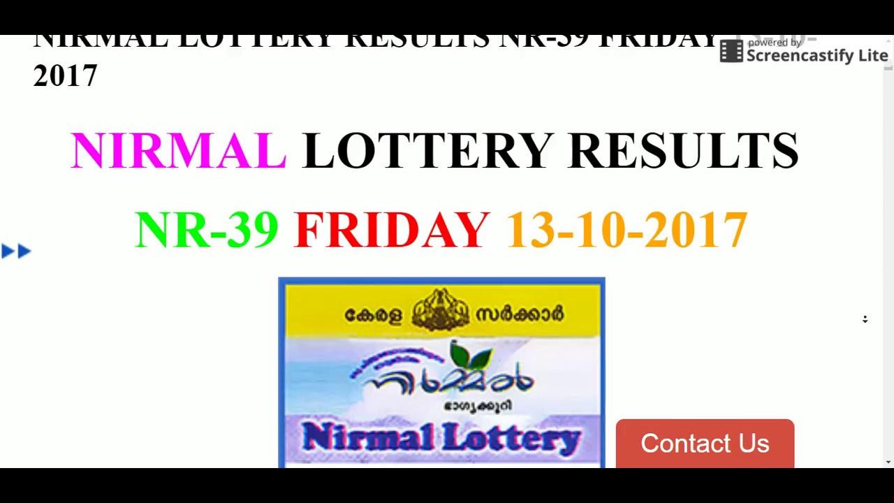 NIRMAL LOTTERY RESULTS NR-39 FRIDAY 13-10-2017  https://www keralalotteryresult online
