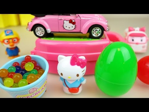 Thumbnail: Hello Kitty bag house and car toys playing with surprise eggs