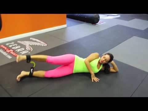Andrea Calle sexy legs workout with ankle bands at AMP Fitness, Pembroke Pines