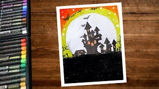Halloween Drawing With Oil Pastel Step By Step - Haunted Castle Drawing