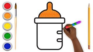 Glitter Baby Bottle Coloring and Drawing for Kids , Toddlers , Aysha drawing for Kids