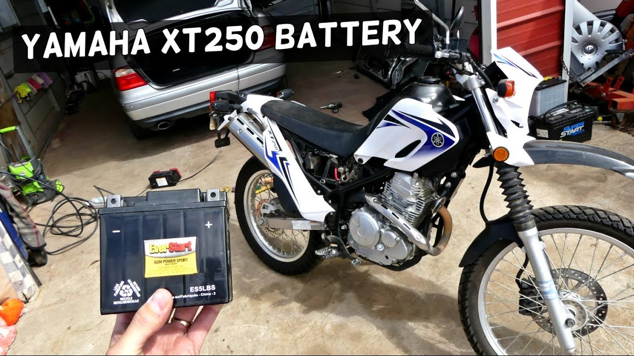 YAMAHA XT250 BATTERY REPLACEMENT REMOVAL XT 250 on