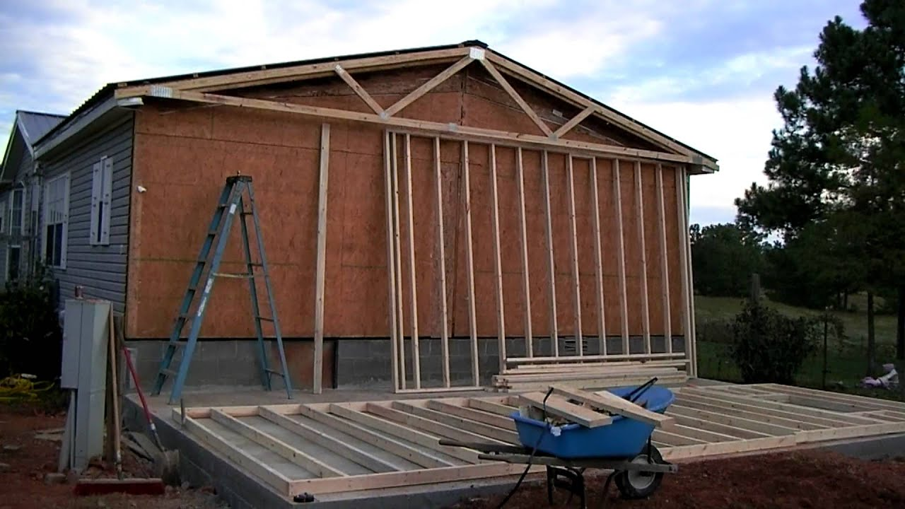 Mobile home addition part 1 youtube for Mobile home additions plans