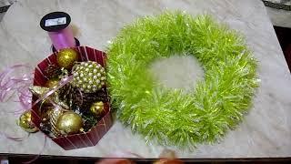 нОВОГОДНИЙ ВЕНОК (КАК сделать рождественский ВЕНОК на дверь)основание для новогоднего венка