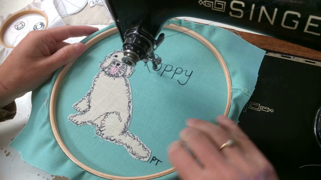Stitching Pictures Using Freehand Machine Embroidery Youtube